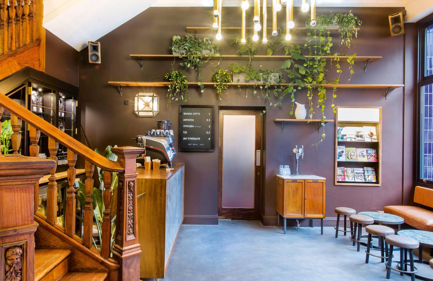 The café at ThePilgrm hotel, which is carved out offour Victorian townhouses in London