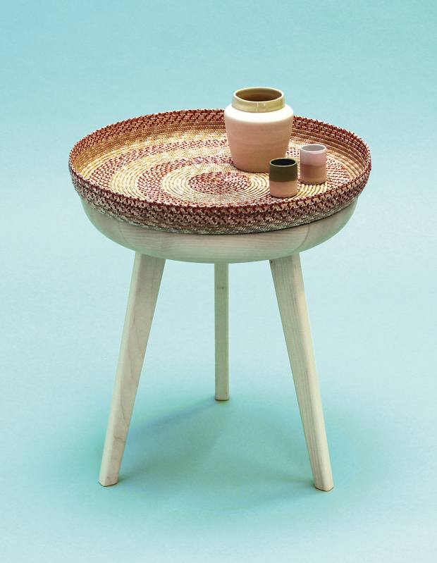 Pour les Alpes straw and maple Khan side table, £750