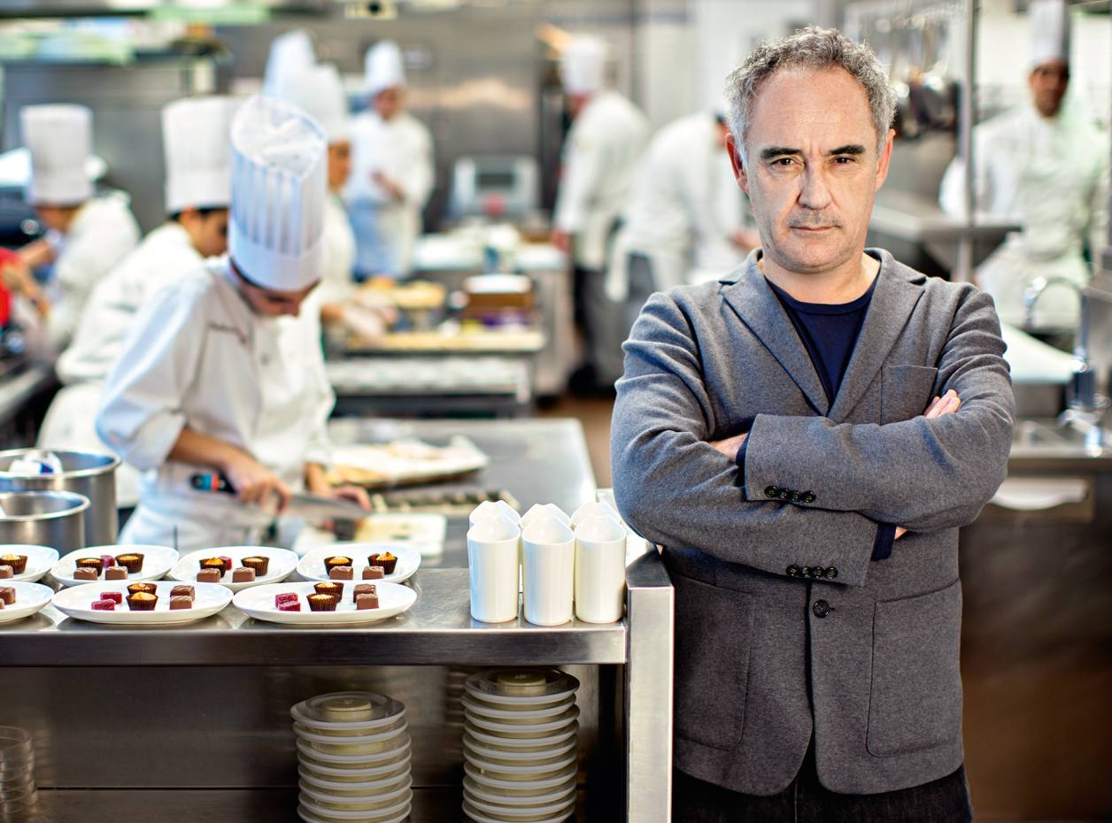 Ferran Adrià photographed in the kitchen of The Bocuse Restaurant, at The Culinary Institute of America's New York campus, where he was giving a lecture to students