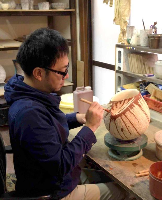 Ceramicist Shinya Tanoue in his Kyoto studio