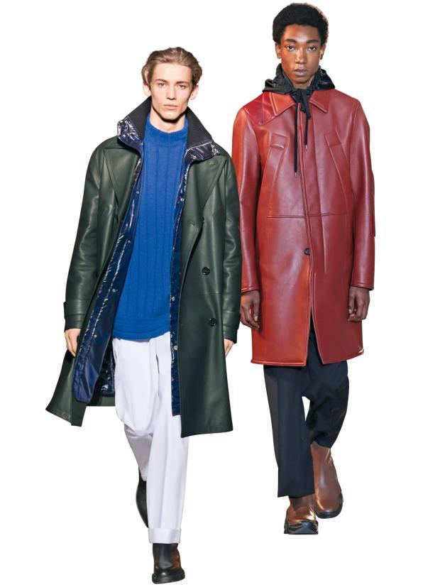 Hermès calfskin coat, £11,110. No 21 leather coat, £2,400