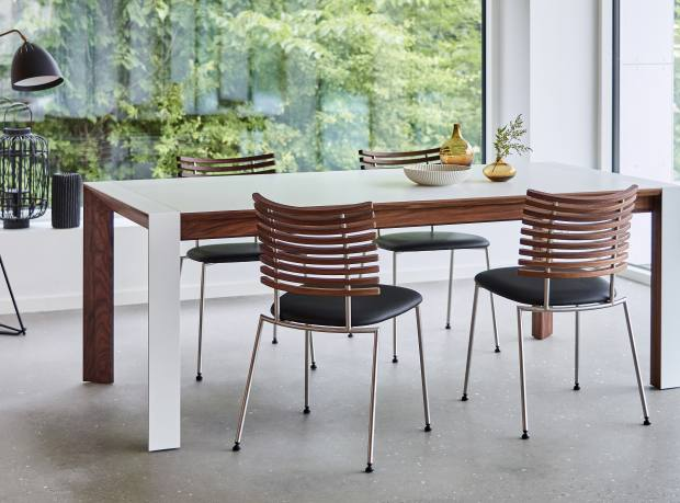 Durable Danish extending Corian dining table