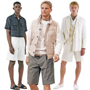 From left: Katharine Hamnett cotton drill Army shorts, £165. Brunello Cucinelli cotton-gabardine Bermuda shorts, £490. Ralph Lauren Purple Label linen Carter shorts, £350