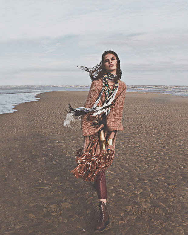 Ulla Johnson merino wool-mix Monia poncho, €1,150. Roberto Cavalli studded leather trousers, £2,630, and enamel andmetal Scarab Beetle necklace (just seen), £320. Giuseppe Zanotti leather Thora boots, £805. Rockins silk scarves, £165 each. Pippa Holt cotton belt(worn as scarf), £133. Pebble London cloisonné-bead Chinese necklace, £145, silver, turquoise and resin Afghan necklace, £195, silver,glass and resin bead multi-row necklace, £120, gold-plate, pearl and glass-cabochon necklace, £240, hammered gold-plate cuffs, from £45, and gold-plate and stone rings, from £55