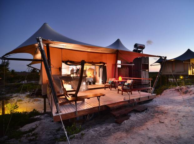 A luxury tent at Anegada Beach Club, an ideal base for kitesurfing