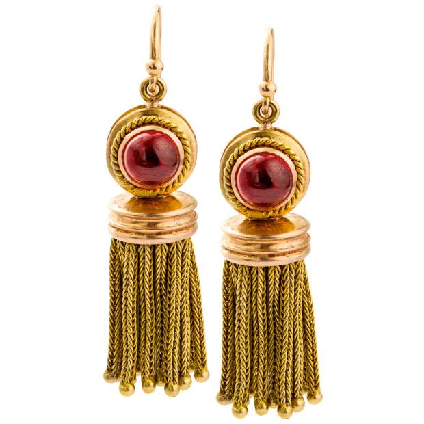 c1870s gold and garnet earrings, £4,950 from Bentley & Skinner