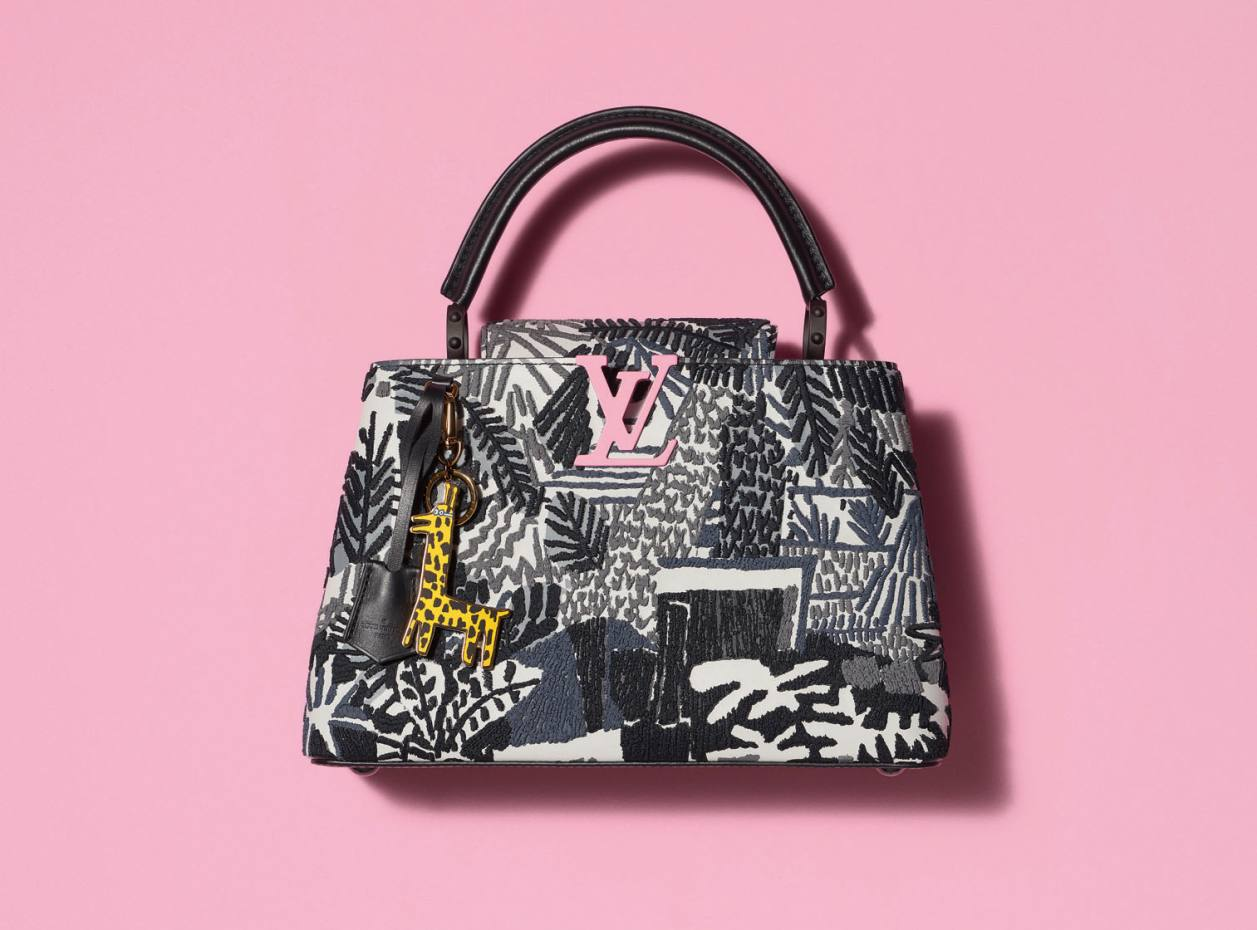 87dc58186eb Jonas Wood's embroidered cowhide and calfskin Capucines bag with metal  giraffe charm for Louis Vuitton,