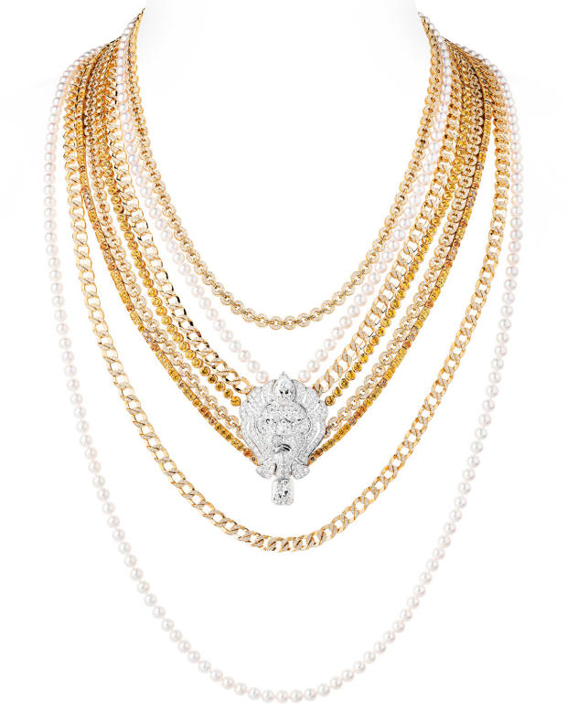 Chanel gold, diamond and pearl multistrand L'Esprit du Lion necklace, price on request