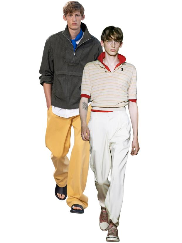 From left: Hermès cagoule, £2,150. Marni stripe shirt, £320, and polo shirt, £280