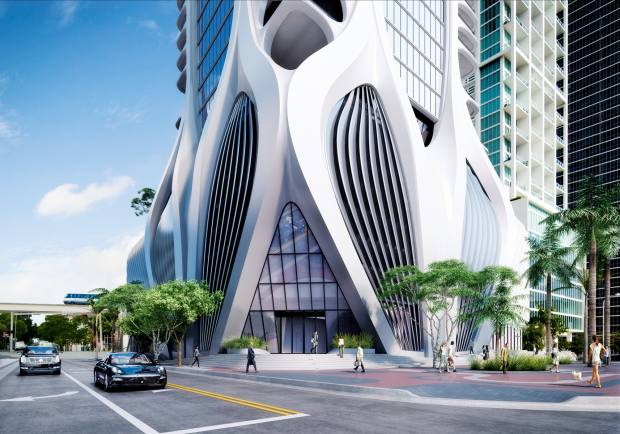 The 62-storey One Thousand Museum in Miami, designed by the late Zaha Hadid, residences from $5.65m through Sotheby's International Realty