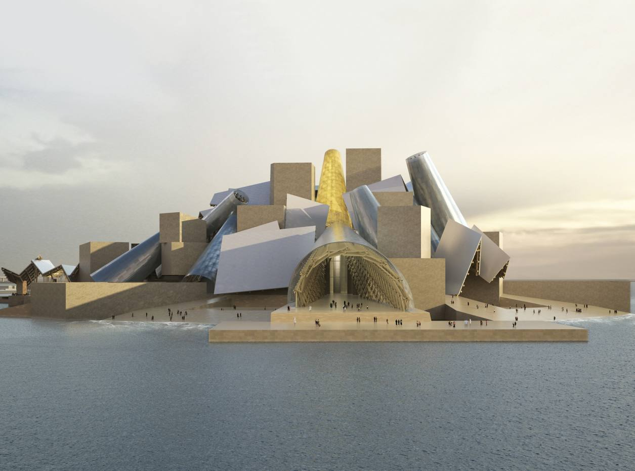 A rendering of the Guggenheim Abu Dhabi museum, designed by Frank Gehry, on Saadiyat Island