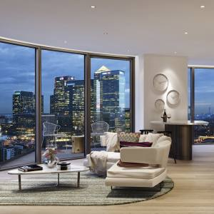 Rendering of a two-bedroom apartment at Ballymore's Providence Tower, from £500,000