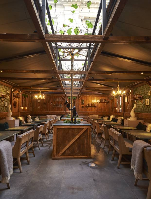 The Monkey 47 Winter Lodge has transformed Rosewood hotel's courtyard into a winter wonderland