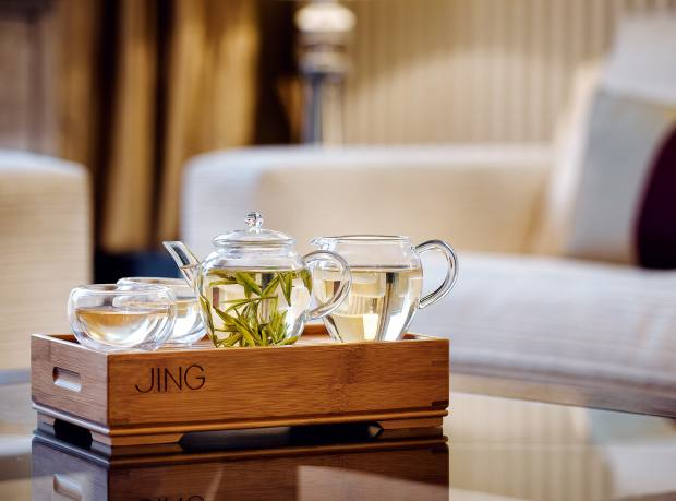 Jing handblown-glass Gong Fu Tea Set on a bamboo tray, from £50
