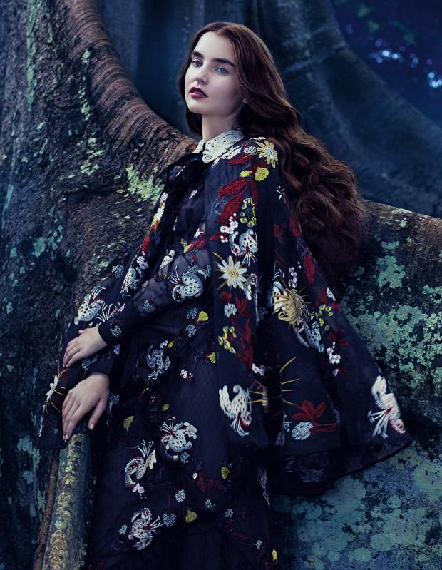 Erdem Bacall cape, £3,360, and matching dress, £4,760