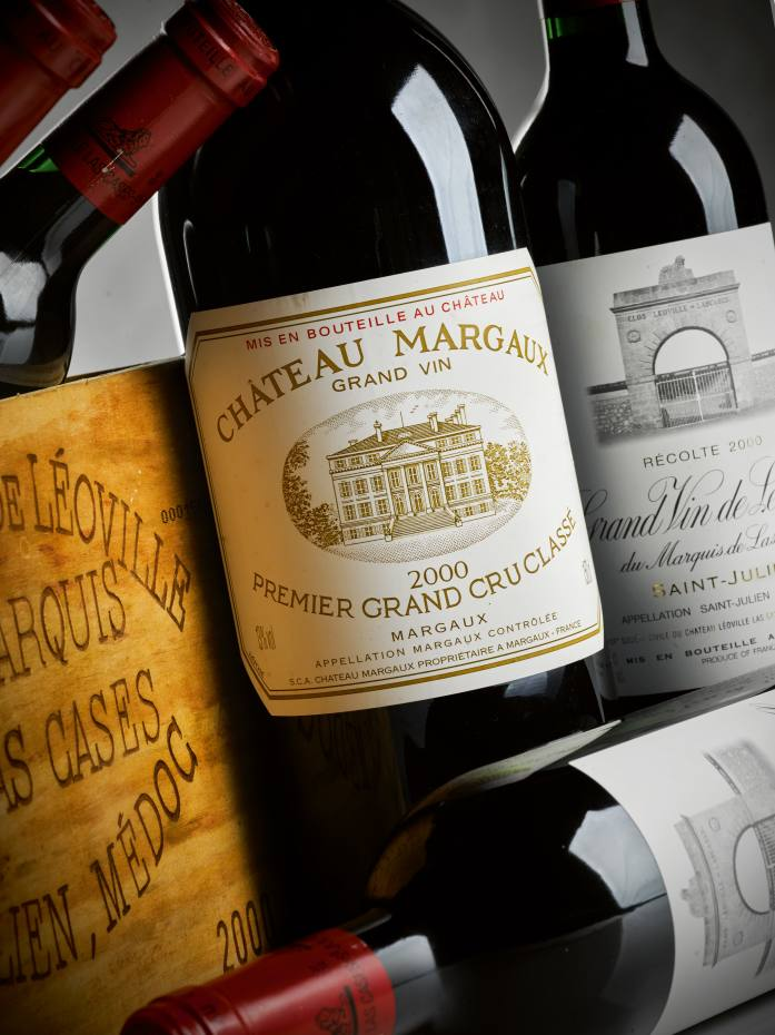 French wines in the auction include Château Margaux 2000
