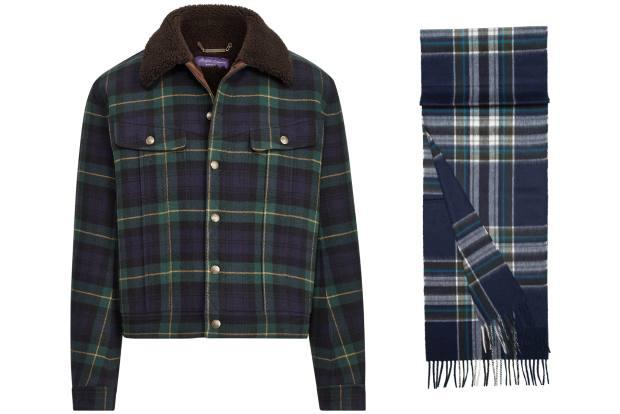 From left: Ralph Lauren wool jacket, £5,215. Begg & Co lambswool/angora scarf, £98