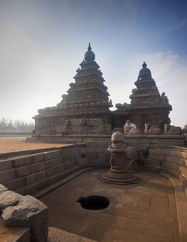 The Shore Temple complex at Mahabalipuram on the shores of the Bay of Bengal