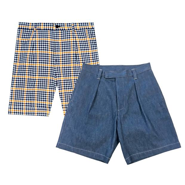 From left: Editions MR cotton shorts, £165. E Tautz cotton denim Naval shorts, £185
