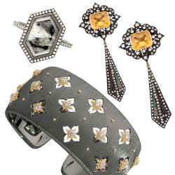 From left: Eva Fehren blackened 18ct white gold Abstraxt ring, $9,250. Buccellati DLC-treated white gold, yellow gold and diamond Macri Giglio cuff, £28,000. Amrapali rhodium-plated 18ct gold, diamond and citrine earrings, £8,500