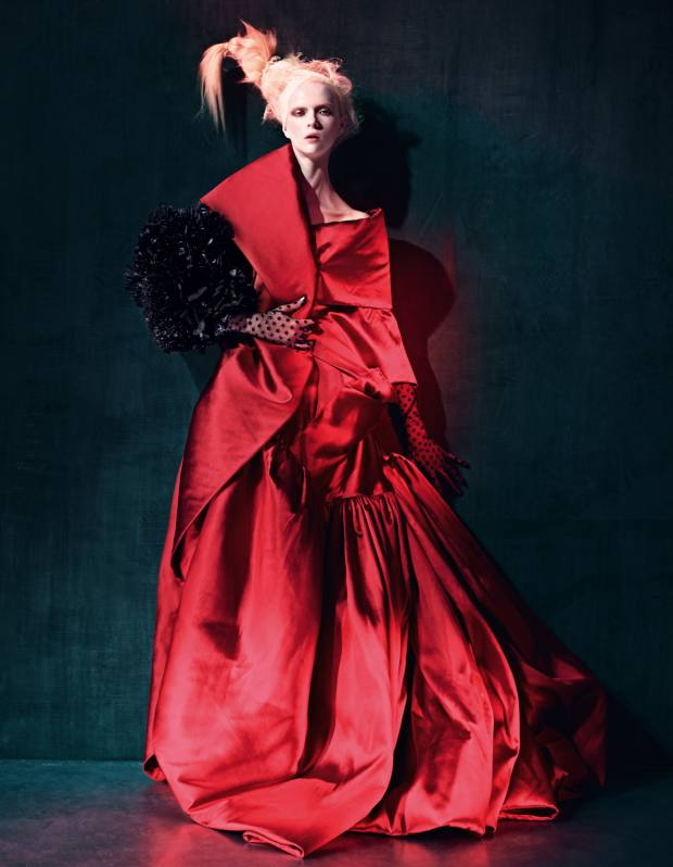 Silk-mix dress, made to order, price on request, by Alexis Mabille Haute Couture. Tufted-plastic muff (worn on arm), made to order, price on request, by Gareth Pugh. Net gloves, stylist's own