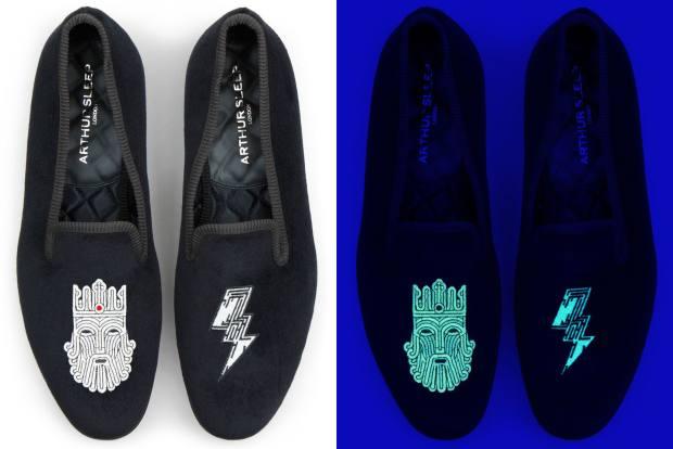Arthur Sleep velvet Glowing Gods slippers, from £650