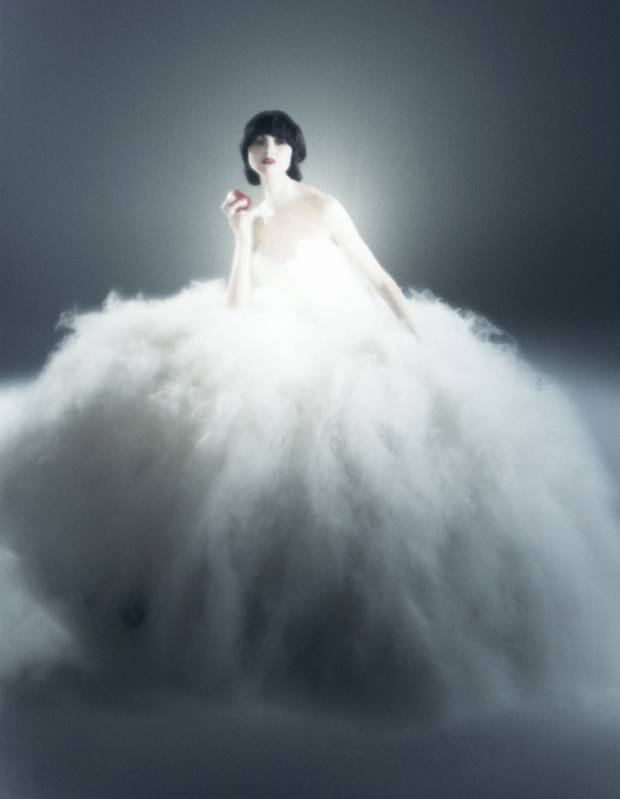 Snow White wears strapless tulle ball gown, price on request, by Marchesa