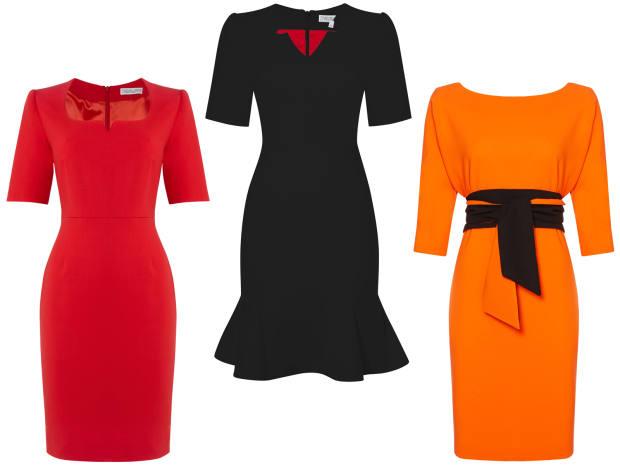 From left: Michaela Jedinak Anna bodycon dress, £395, Brina dress, £395, and Inez wrap dress, £520