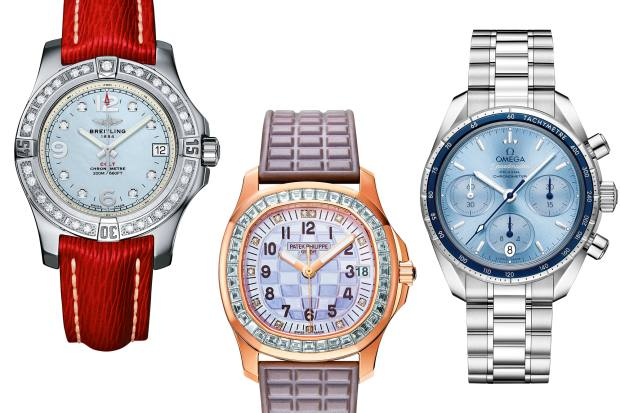 From left: Breitling steel, diamond and mother-of-pearl Colt 36 on leather strap, £2,700. Patek Philippe rose-gold, diamond and mother-of-pearl Aquanaut Luce Haute Joaillerie on composite strap, £66,850. Omega steel and aluminium Speedmaster 38, £3,650