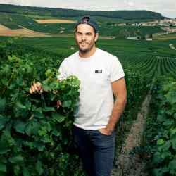 Adrien Dhondt-Grellet in the family vineyards in Flavigny