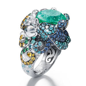 Tesori del Mare ring topped with a 11.42ct Paraíba tourmaline, price on request