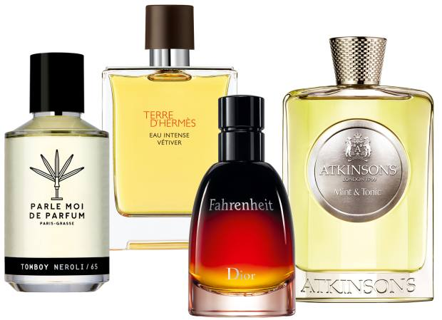 From left: Parle Moi de Parfum Tomboy Neroli, £98 for 50ml EDP. Hermès Eau Intense Vétiver, £89 for 100ml EDP. Dior Fahrenheit, £54 for 50ml EDT. Atkinsons Mint & Tonic, £130 for 100ml EDP