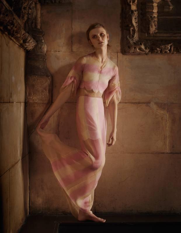 Dior silk organza dress, £6,200, and cotton top and shorts set, £1,300