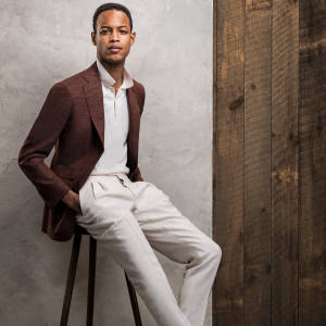 Thom Sweeney wool/silk/linen Weighhouse jacket, £1,180, and linen trousers, £395