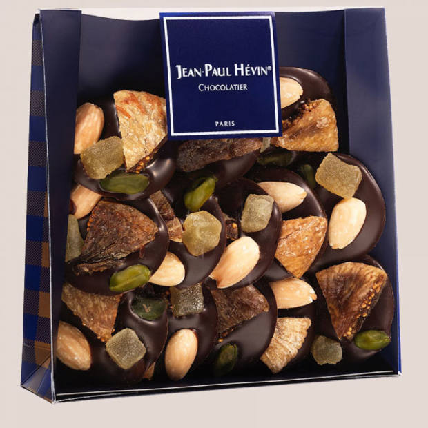 Jean-Paul Hévin's thin dark chocolate with nuts and ginger, selected by Stella Tennant