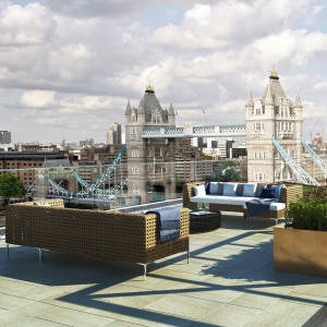 The roof terrace of a four-bedroom duplex penthouse at One Tower Bridge, £14.5m