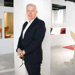 Driade artistic director David Chipperfield at the brand's new Milan showroom, with (from left) leather and fibreglass Lou Read armchair by Philippe Starck with Eugeni Quitllet, from £3,996; steel and velvet 33 Cuscini sofa and pouf by Paolo Rizzatto, from £6,258 and £2,160 respectively; aluminium and composite Basalt side table by Fredrikson Stallard, from £3,264; and brass Acate coat hanger by Borek Sípek, from £1,254