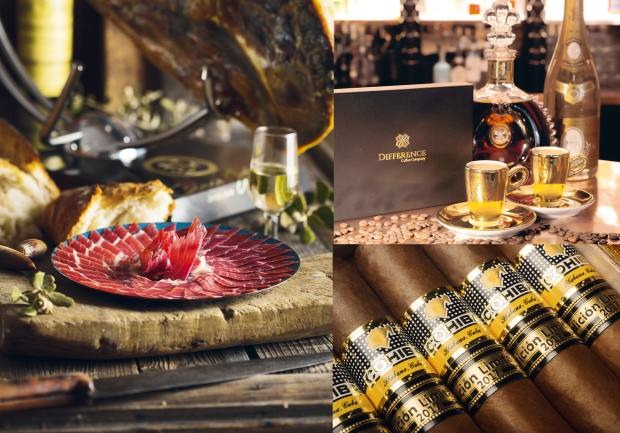 Clockwise from left: Cinco Jotas pata negra jamón. Difference Coffee Company Nespresso capsules. Cohiba Talisman cigars