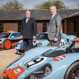 Adrian Hamilton (left) and Roald Goethe with cars from the RofGo Collection