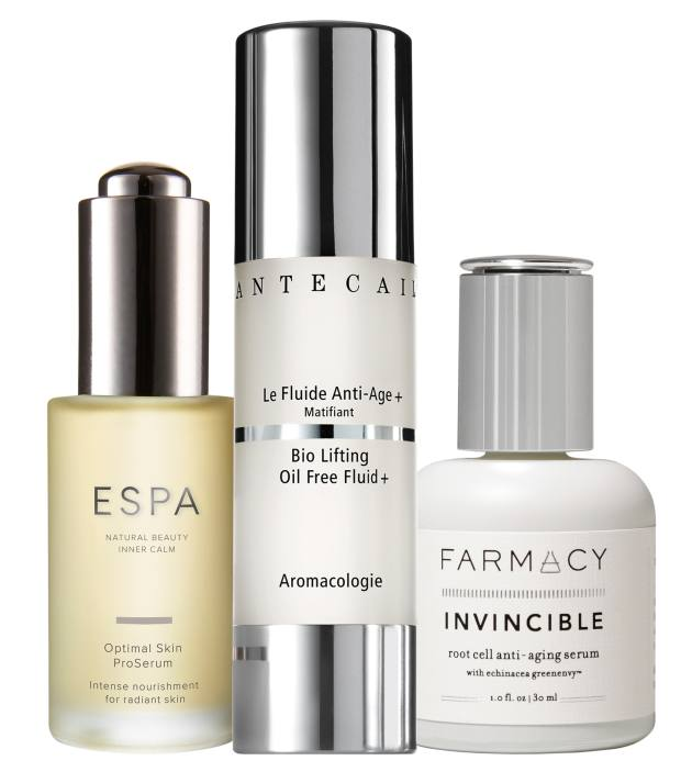 From left: Espa Optimal Skin ProSerum, £49 for 30ml. Chantecaille Bio Lifting Oil Free Fluid+, £232 for 50ml. Farmacy Invincible serum, £55 for 30ml