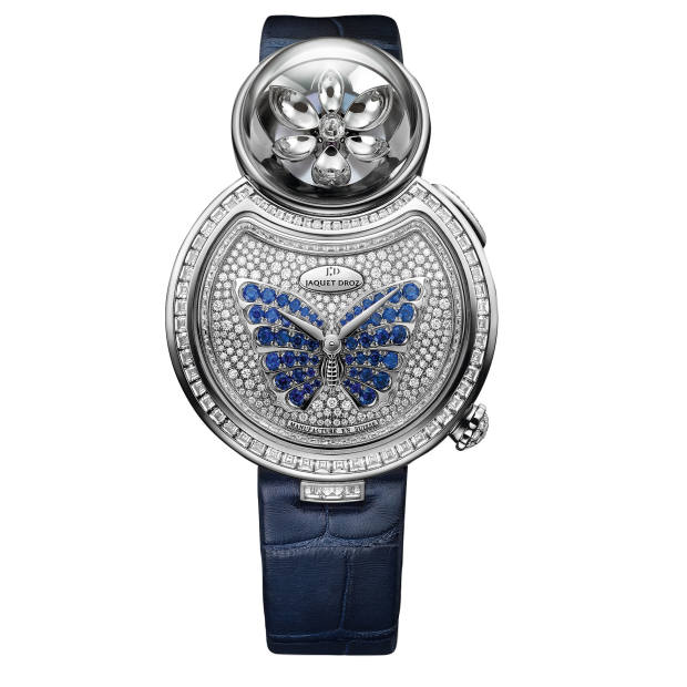Jaquet Droz white gold, diamond and sapphire Lady 8 Flower on alligator strap, £118,200