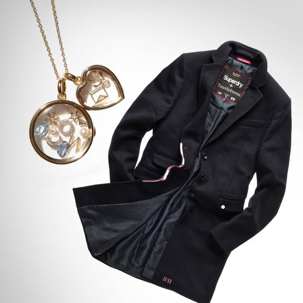 Loquet's round and heart-shaped lockets, £599 and £450 for 9ct gold; £2,000 and £1,650 for 18ct. Superdry Timothy Everest wool/nylon Town coat, about £250 (plus £45 for up to three letters)