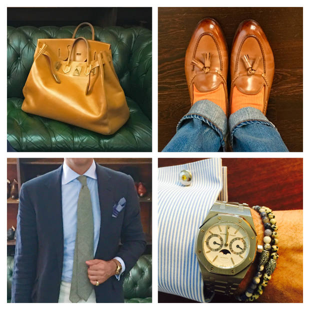 Clockwise from top left: Hermès Haut à Courroies 50 bag. Edward Green Belgravia tassel loafers and Mes Chaussettes Rouges Mazarin socks. Audemars Piguet Moonphase watch from Chrono24. Ralph Lauren Purple Label blazer, Viola Milano tie and Mes Chaussettes Rouges pochette