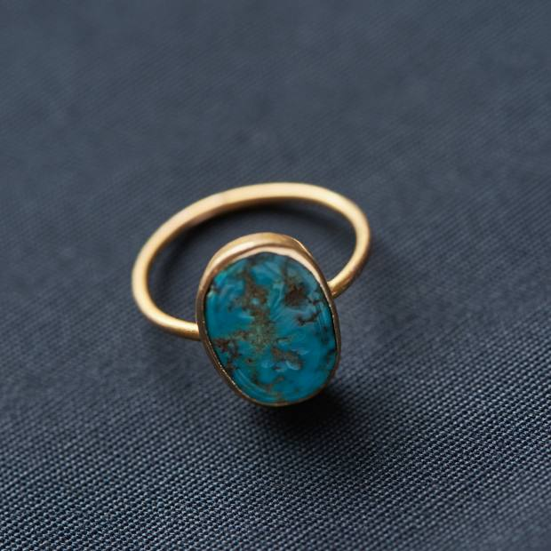 Turquoise and gold ring that a friend, Emma Hawkins, an antique dealer, gave Tennant