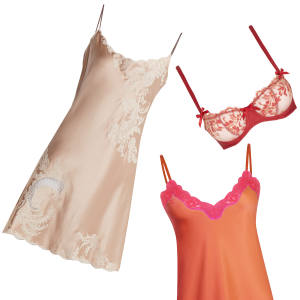 Clockwise from top left: Carine Gilson lace-trimmed silk-satin slip dress, £1,000. Lucile & Co Maison de Grande Luxe balcony bra and lace-front briefs, £265. Vannina Vesperini bespoke slip, from £130