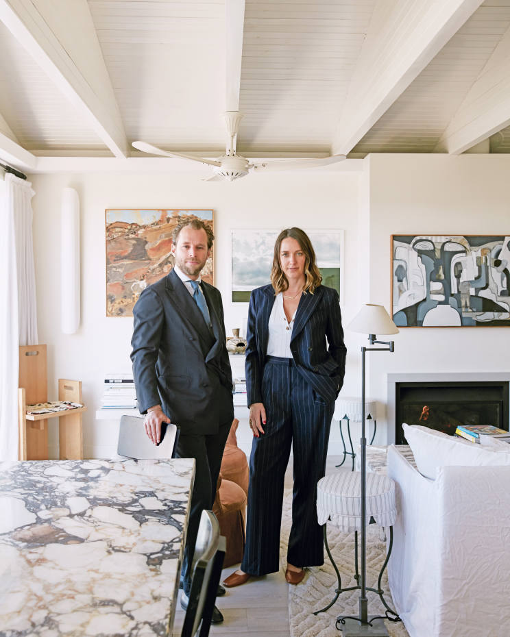 Patrick and Tamsin Johnson in their Sydney home, a completely redesigned 1960s bungalow overlooking Tamarama beach