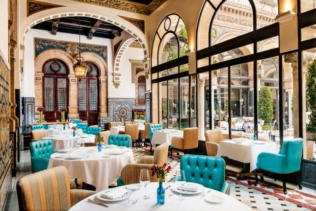 The dining room at Hotel Alfonso XIII in Seville specialises in Andalusian cuisine