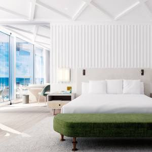 A bedroom at Miami Beach's reimagined Surf Club