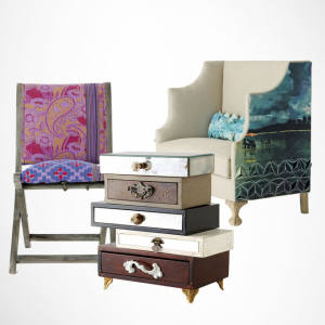 Terai chair, £178. Topsy-Turvy Jewelry Box, £238. Greenfynch Padrina settee, £2,198