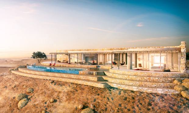 The dramatic Sixth Senses Shaharut, carved into the Arava Valley in the Negev desert, will open in 2019